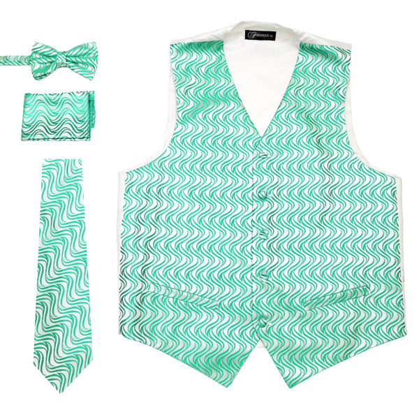Ferrecci Mens PV150 - Green/White Vest Set - FHYINC best men's suits, tuxedos, formal men's wear wholesale