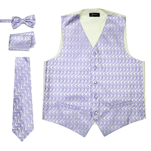 Ferrecci Mens PV150 - Purple/Cream Vest Set - FHYINC best men's suits, tuxedos, formal men's wear wholesale