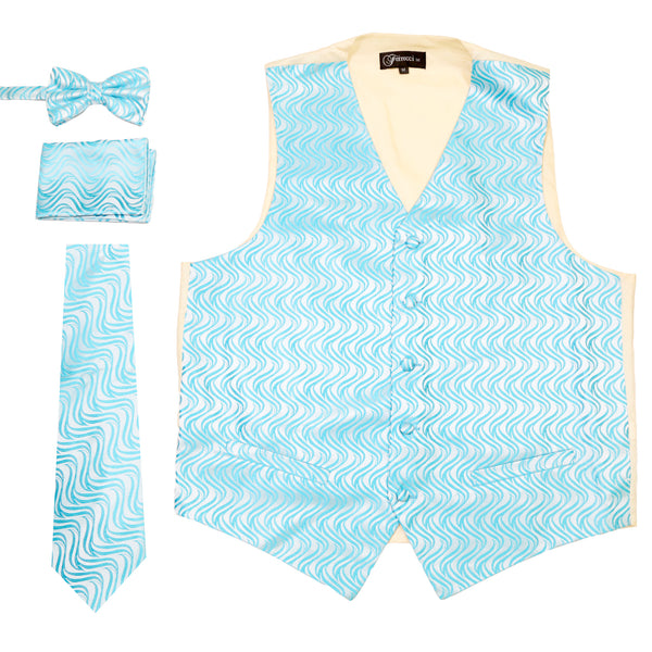 Ferrecci Mens PV150 - Turquoise/Cream Vest Set - FHYINC best men's suits, tuxedos, formal men's wear wholesale