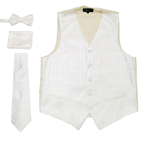Ferrecci Mens PV150 - White/Cream Vest Set - FHYINC best men's suits, tuxedos, formal men's wear wholesale