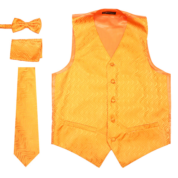 Ferrecci Mens PV150 - Orange Vest Set - FHYINC best men's suits, tuxedos, formal men's wear wholesale