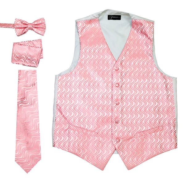Ferrecci Mens PV150 - Pink Vest Set - FHYINC best men's suits, tuxedos, formal men's wear wholesale