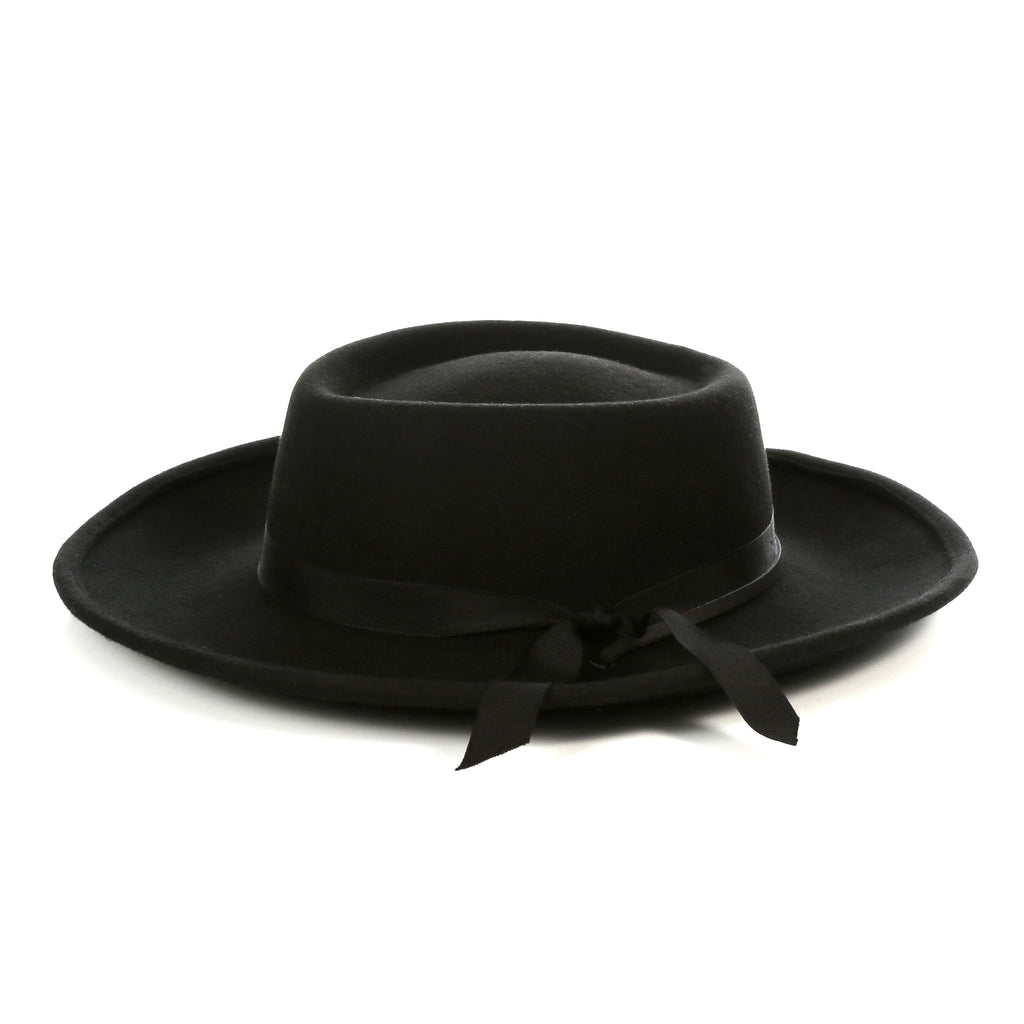 Black Wide Brim Fedora - Earp - FHYINC best men