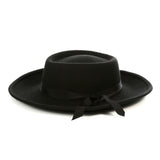 Black Wide Brim Fedora - Earp - FHYINC best men's suits, tuxedos, formal men's wear wholesale