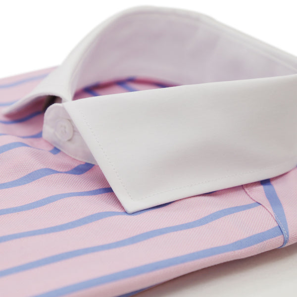 The Winston Pink Striped Slim Fit Cotton Dress Shirt
