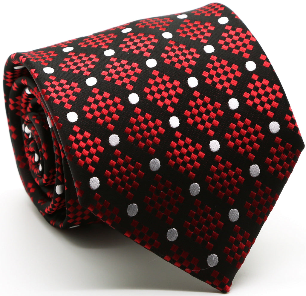Mens Dads Classic Red Circle Pattern Business Casual Necktie & Hanky Set XO-2 - FHYINC best men