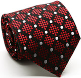 Mens Dads Classic Red Circle Pattern Business Casual Necktie & Hanky Set XO-2 - FHYINC best men's suits, tuxedos, formal men's wear wholesale