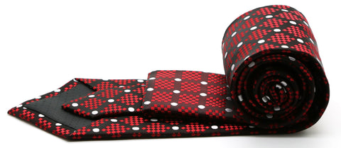 Mens Dads Classic Red Circle Pattern Business Casual Necktie & Hanky Set XO-2