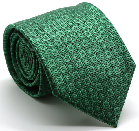 Mens Dads Classic Green Geometric Pattern Business Casual Necktie & Hanky Set Y-9