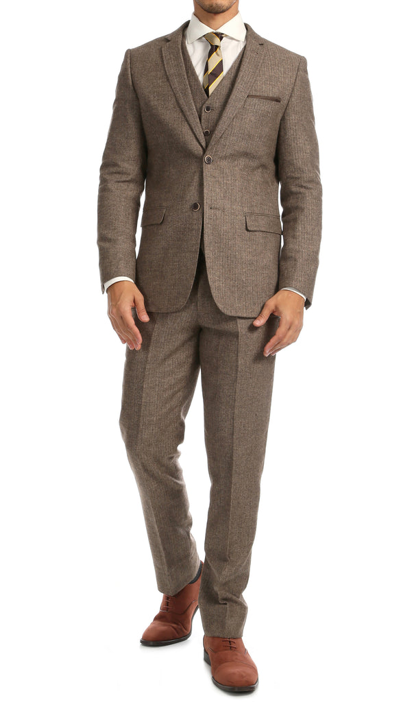York Brown Slim Fit 3pc Herringbone Suit - FHYINC best men