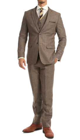 York Brown Slim Fit 3pc Herringbone Suit