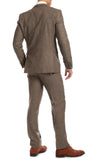 York Brown Slim Fit 3pc Herringbone Suit - FHYINC