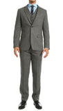 York Grey Slim Fit 3pc Herringbone Suit - FHYINC