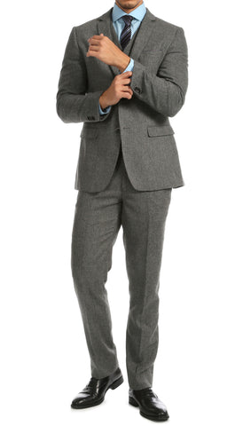York Grey Slim Fit 3pc Herringbone Suit