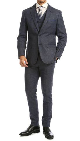 York Navy Slim Fit 3pc Herringbone Suit