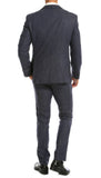 York Navy Slim Fit 3pc Herringbone Suit - FHYINC