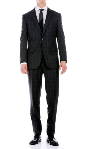 Yves Black Plaid Check Men's Premium 2pc Premium Wool Slim Fit Suit