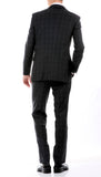 Yves Black Plaid Check Men's Premium 2pc Premium Wool Slim Fit Suit - FHYINC best men's suits, tuxedos, formal men's wear wholesale