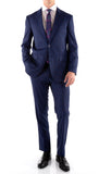 Yves Blue Plaid Check Men's Premium 2pc Premium Wool Slim Fit Suit - FHYINC best men's suits, tuxedos, formal men's wear wholesale