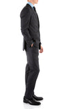 Yves Grey Plaid Check Men's Premium 2pc Premium Wool Slim Fit Suit - FHYINC best men's suits, tuxedos, formal men's wear wholesale