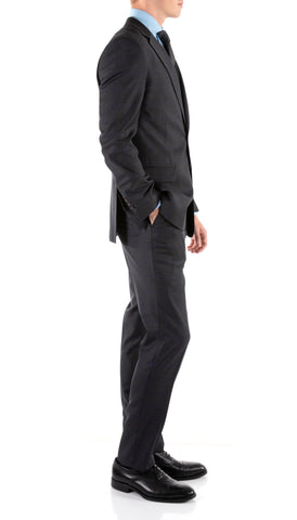 Yves Grey Plaid Check Men's Premium 2pc Premium Wool Slim Fit Suit