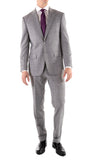 Yves Light Grey Plaid Check Men's Premium 2pc Premium Wool Slim Fit Suit - FHYINC best men's suits, tuxedos, formal men's wear wholesale