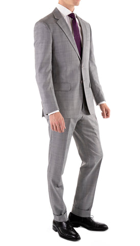 Yves Light Grey Plaid Check Men's Premium 2pc Premium Wool Slim Fit Suit