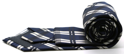 Mens Dads Classic Navy Stripe Pattern Business Casual Necktie & Hanky Set Z-3