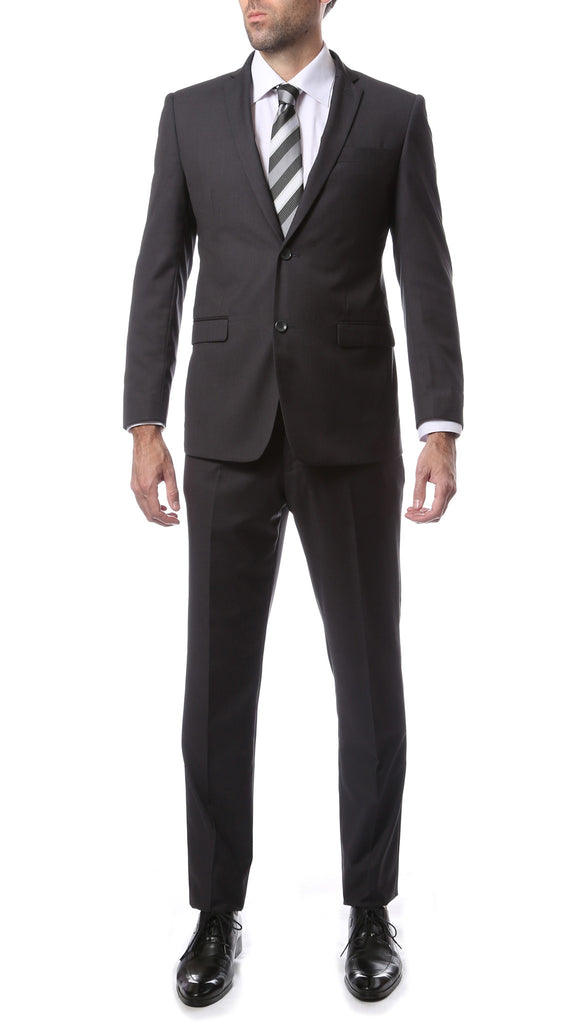 Mens ZNL22S 2pc 2 Button Slim Fit Charcoal Grey Zonettie Suit