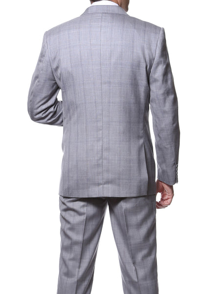 Zillo Silver Grey 3pc Vested Slim Fit Plaid Suit