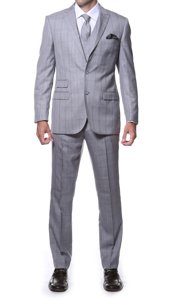 Zonettie by Ferrecci Silver Grey 3pc vested slim fit plaid suit