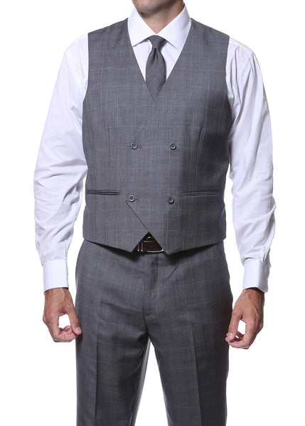 Zillo Charcoal 3pc Vested Slim Fit Plaid Suit
