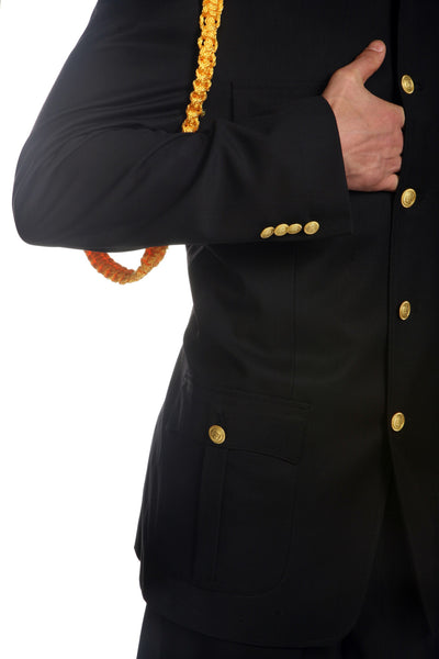 Ferrecci Mens Black Military Cadet Uniform - FHYINC best men's suits, tuxedos, formal men's wear wholesale