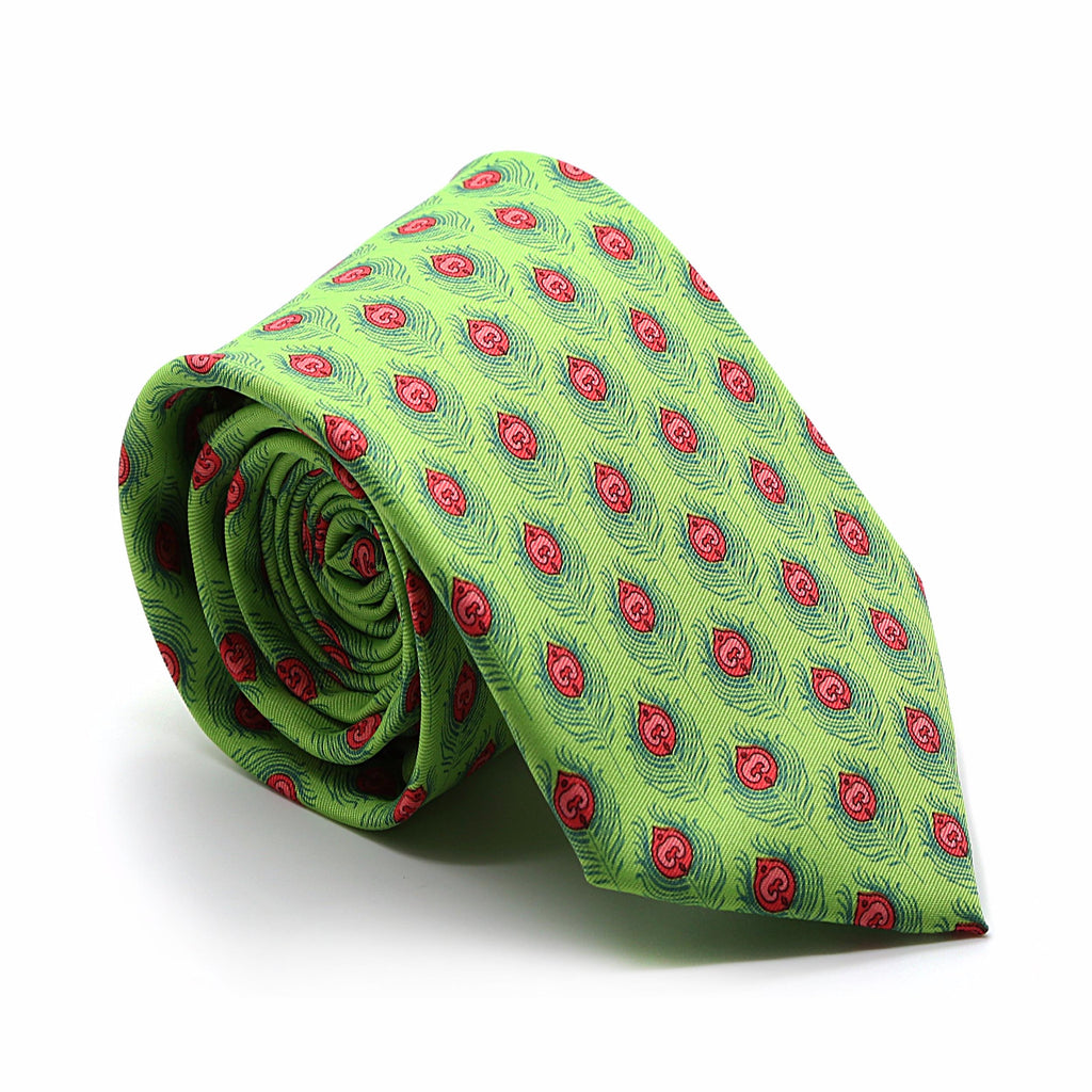 Feather Green Necktie with Handkerchief Set - FHYINC best men