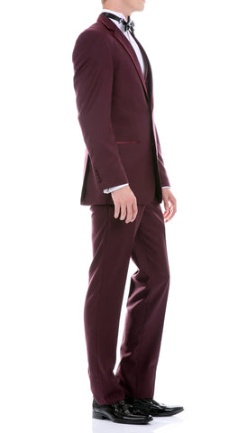 Celio Tux Premium Men's Slim Fit 3 pc Tuxedo Burgundy
