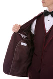 Celio Tux Premium Men's Slim Fit 3 pc Tuxedo Burgundy - FHYINC