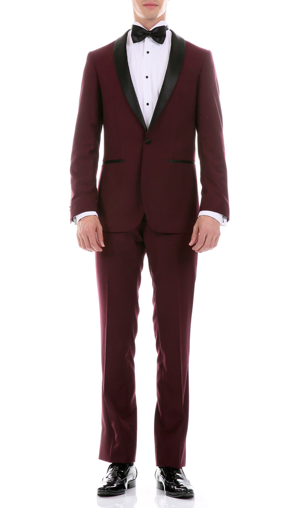 The Reno Mens Burgundy Shawl Collar 2pc Tuxedo - FHYINC best men