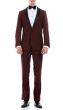 The Reno Mens Burgundy Shawl Collar 2pc Tuxedo - FHYINC