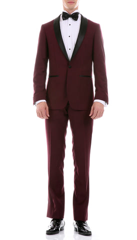 The Reno Mens Burgundy Shawl Collar 2pc Tuxedo