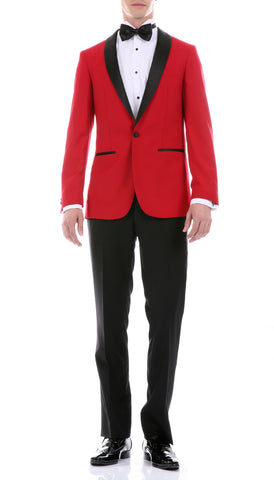 The Reno Mens Red  Shawl Collar 2pc Tuxedo