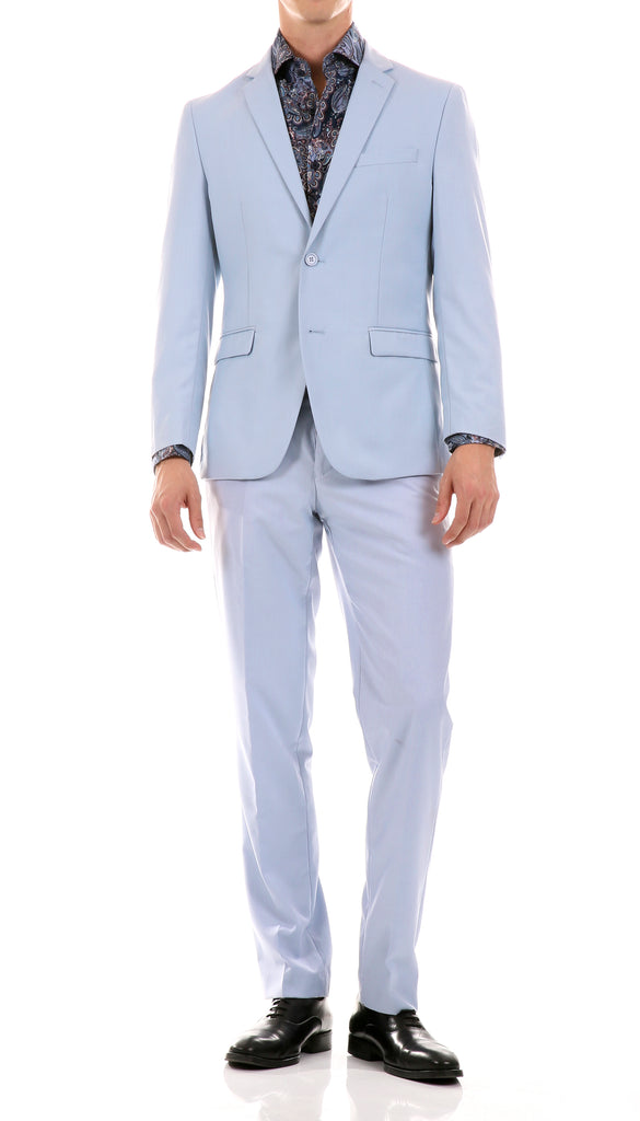 Oslo Sky Blue Slim Fit Notch Lapel 2 Piece Suit - FHYINC