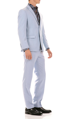Oslo Sky Blue Slim Fit Notch Lapel 2 Piece Suit