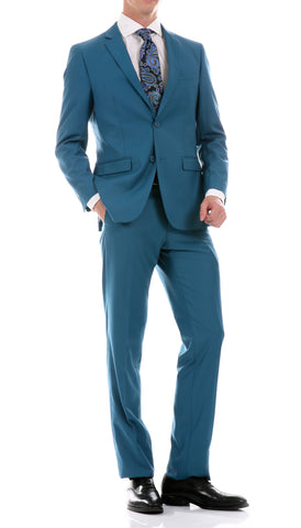 Oslo Teal Slim Fit Notch Lapel 2 Piece Suit
