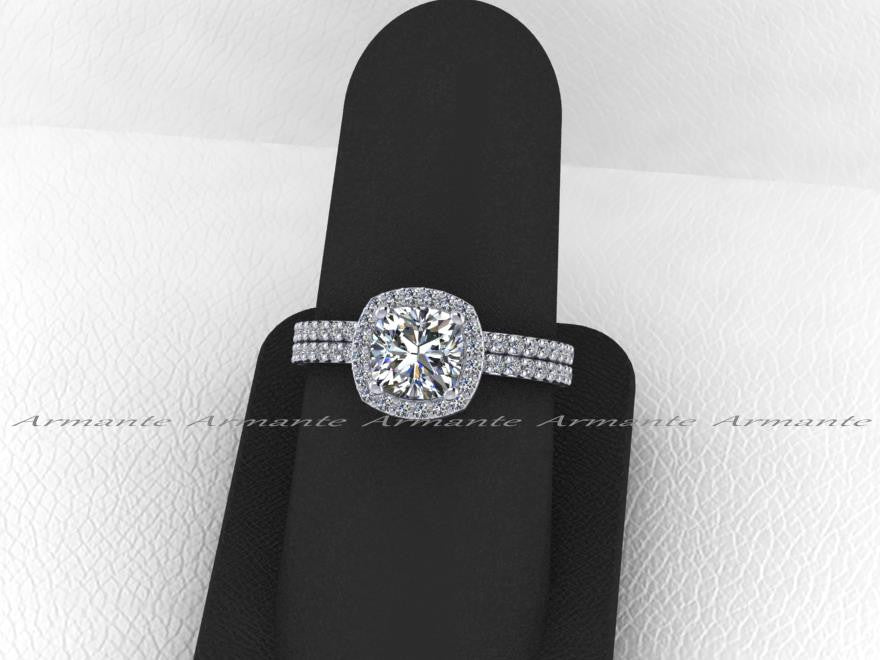 Forever Brilliant Moissanite & Diamond Engagement Ring Set