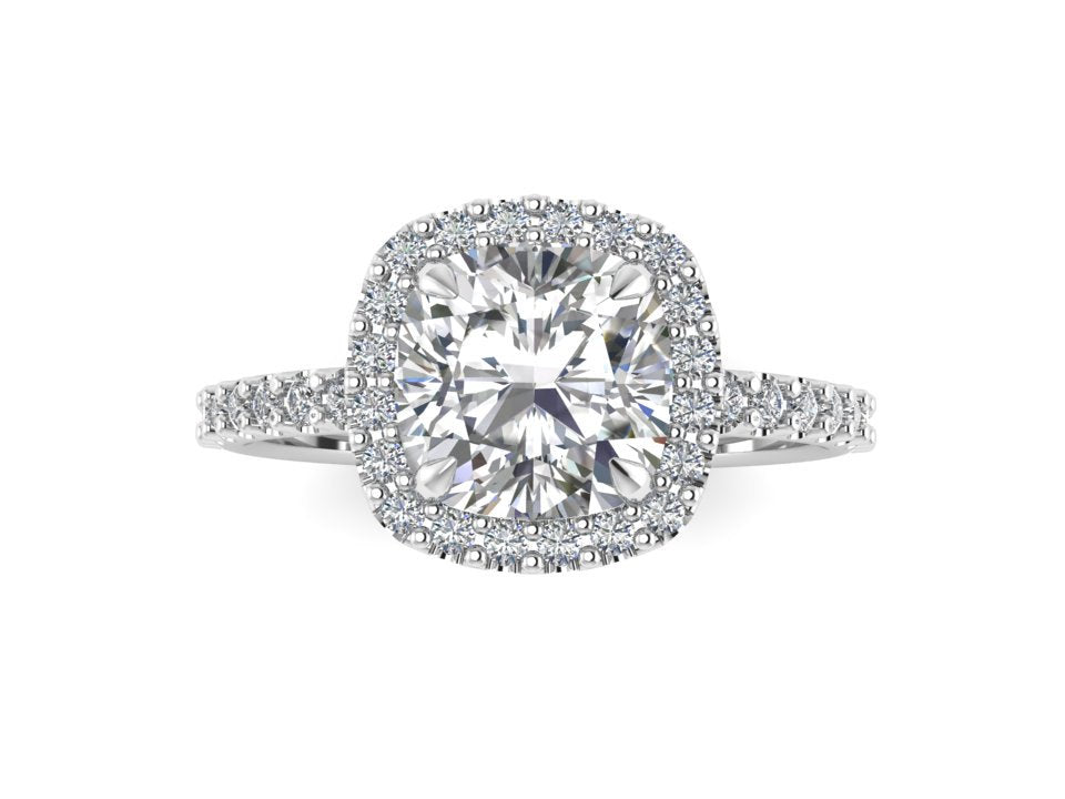 Cushion Cut Colorless Forever One Moissanite Ring