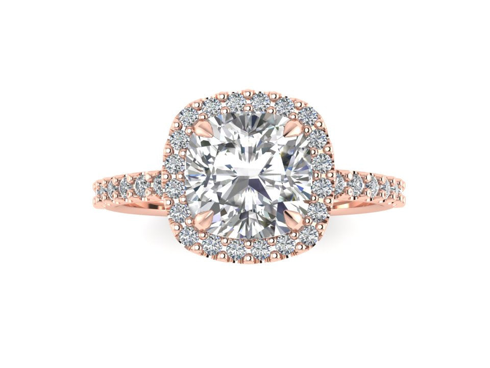 Colorless Cushion Cut Forever One Moissanite Ring