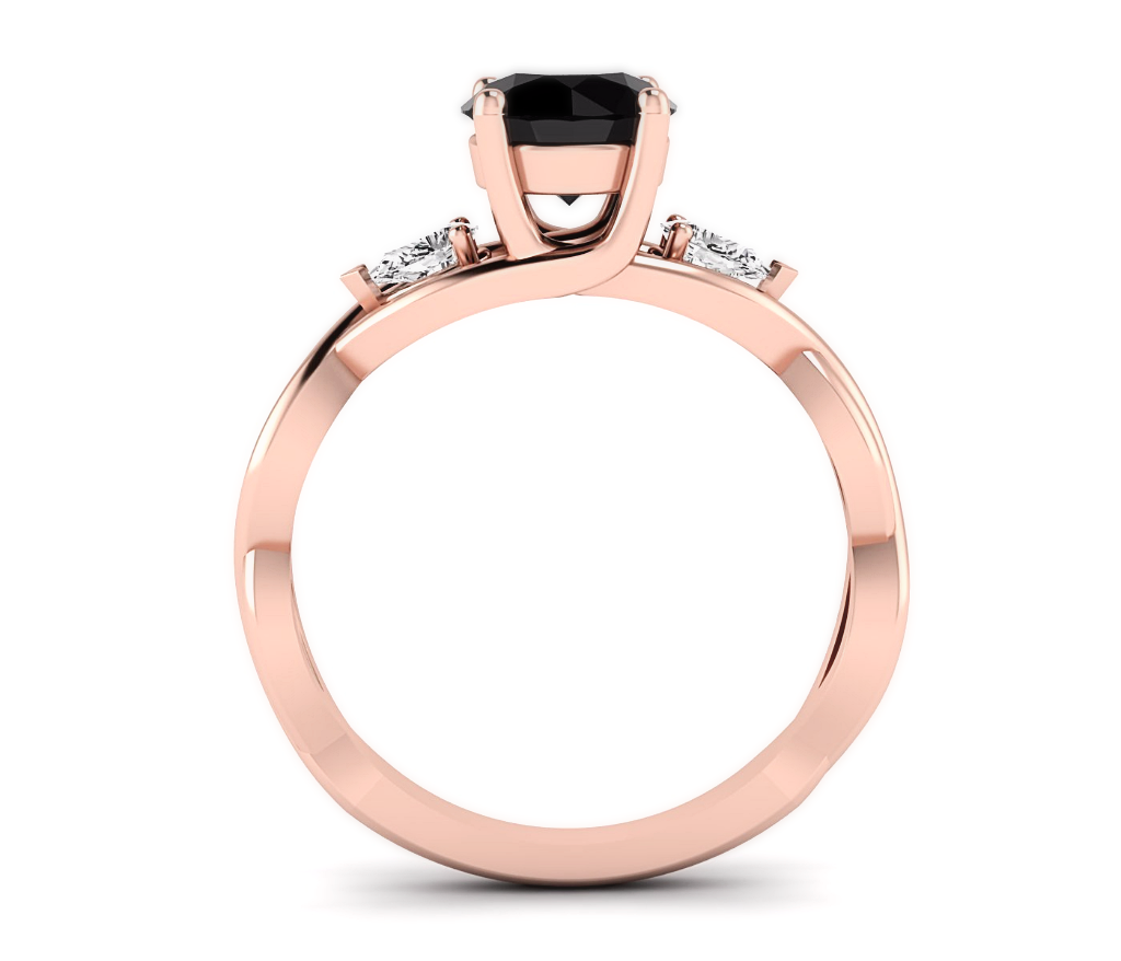 Rose Gold Black And White Diamond Wedding Ring