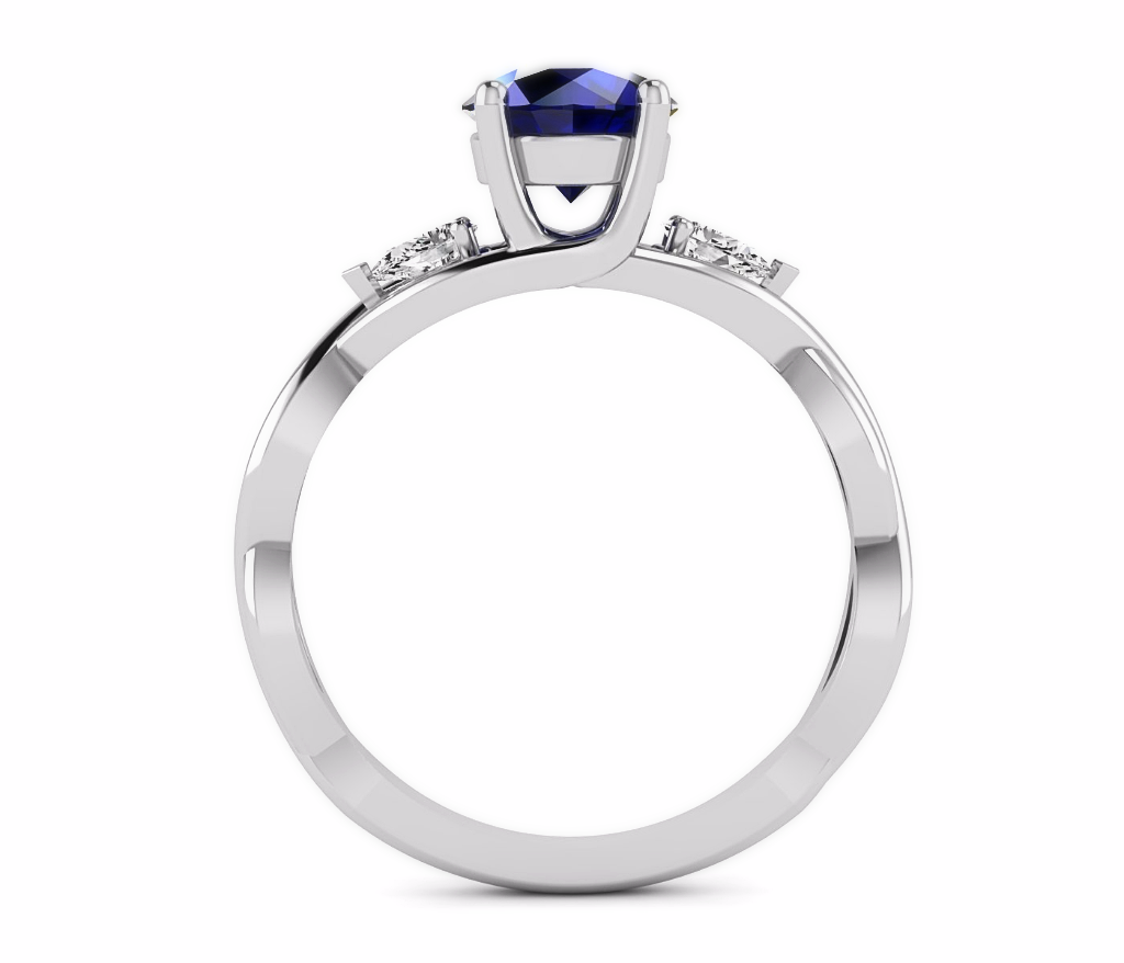 Blue Sapphire & Diamond 3 Stone Engagement Ring