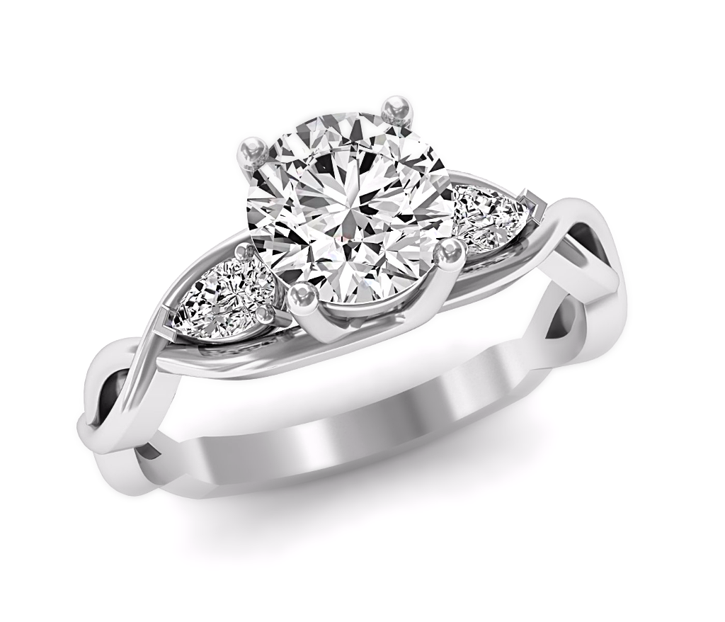 Moissanite & Diamond 3 Stone Engagement Ring