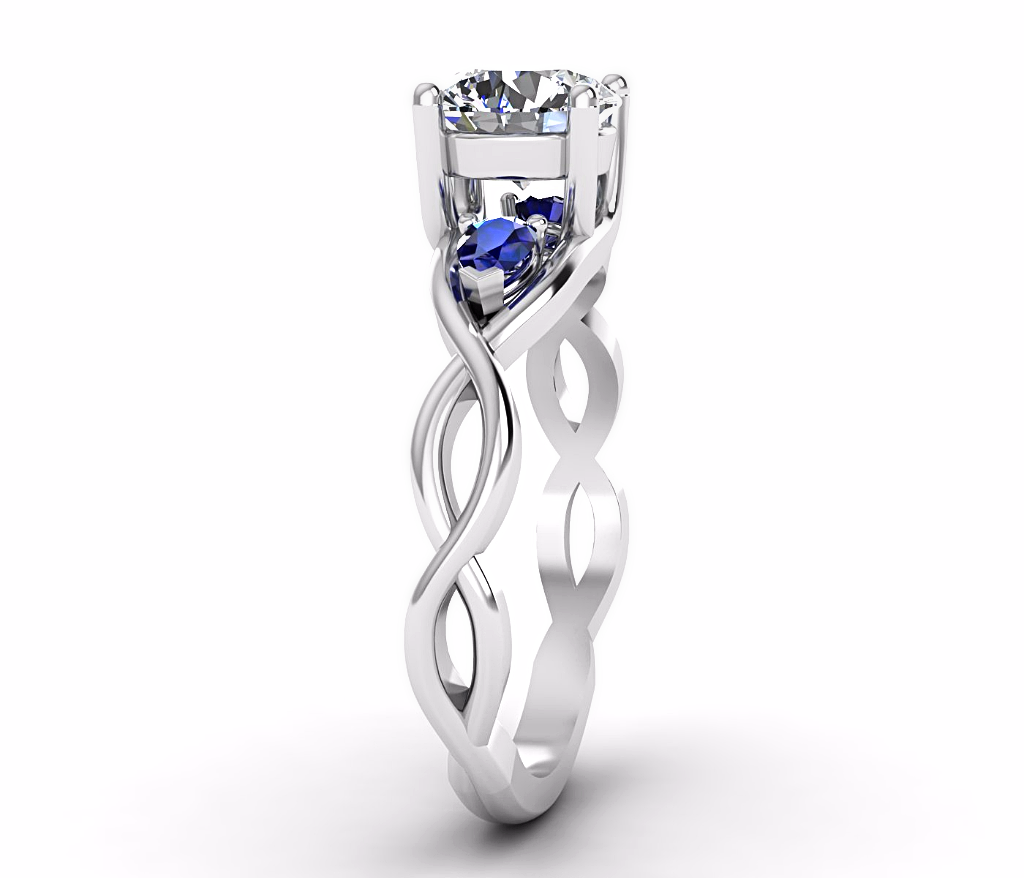 None Diamond Sapphire Engagement Ring